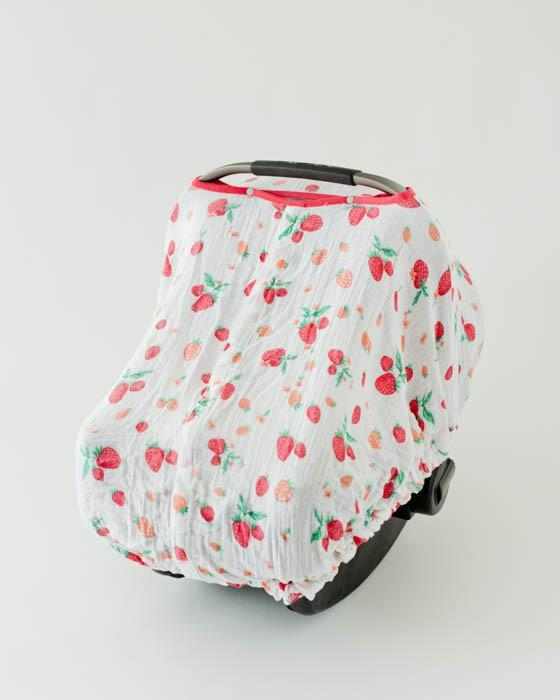 Little Unicorn Cotton Muslin Car Seat Canopy - Strawberry