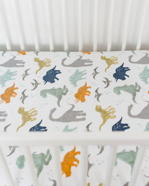 Little Unicorn Cotton Muslin Crib Sheet - Dino Friends