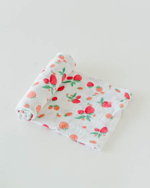 Little Unicorn Cotton Swaddle - Strawberry