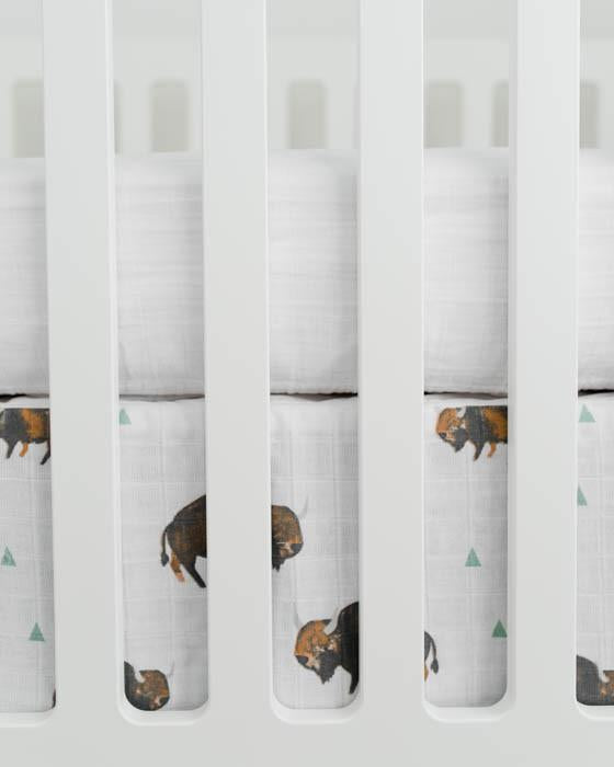 Little Unicorn Cotton Muslin Crib Skirt - Bison