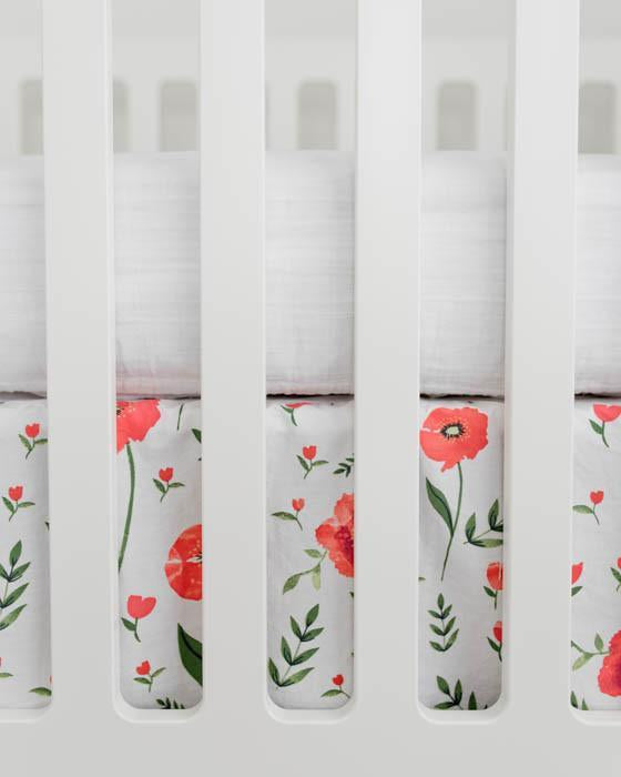 Little Unicorn Percale Crib Skirt - Summer Poppy