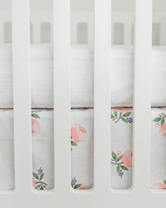Little Unicorn Percale Crib Skirt - Watercolor Rose