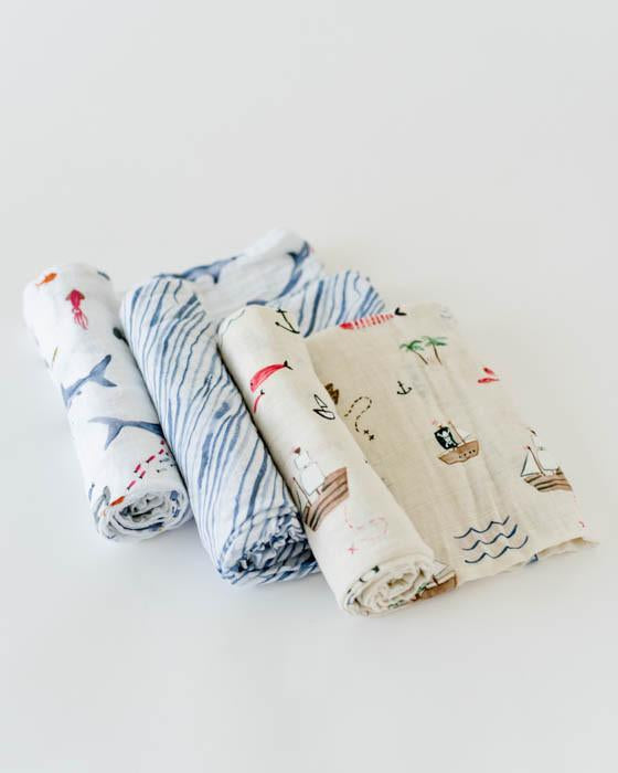 Little Unicorn Cotton Swaddle Set - Shark