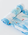 Little Unicorn Cotton Swaddle - Surf