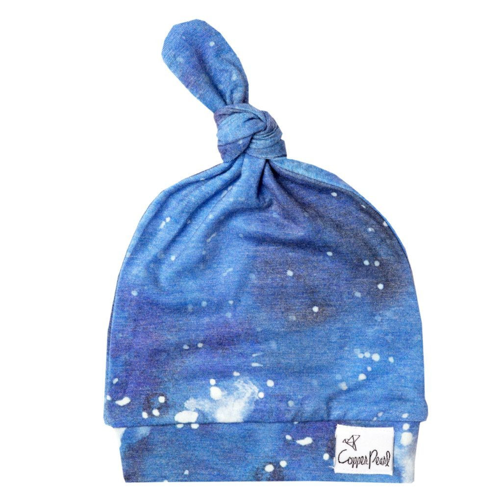 Copper Pearl Top Knot Hat - Galaxy