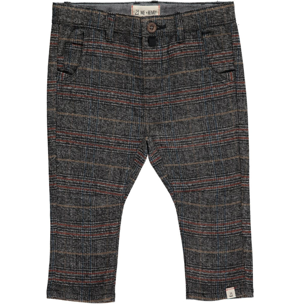 Me & Henry Grey Plaid Woven Baby Pants