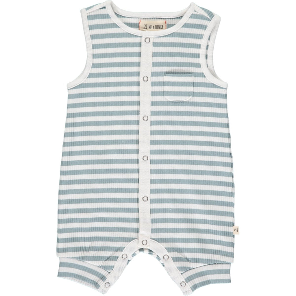 Me & Henry Pablo Ribbed Playsuit | Grey/White Stripe