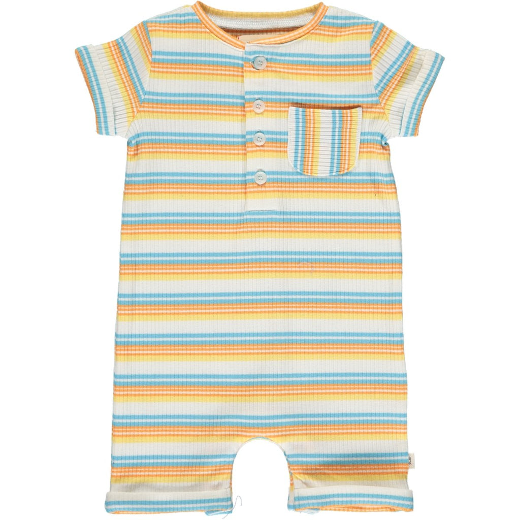 Me & Henry Camborne Henley Romper | Yellow/Papaya/Blue Ribbed Stripe