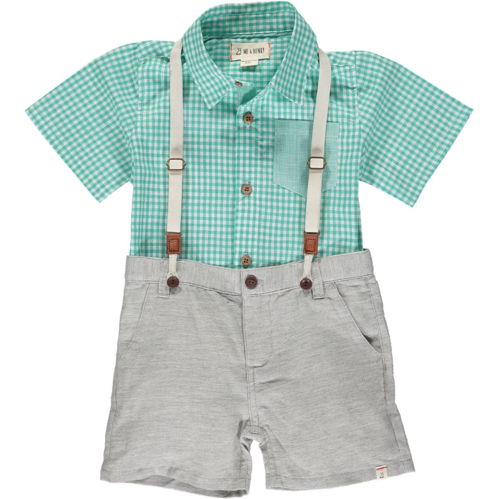 Me & Henry Captain Shorts with Suspenders | Pale Grey