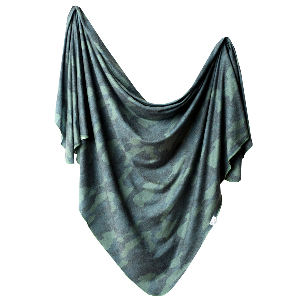Copper Pearl Knit Swaddle Blanket | Hunter