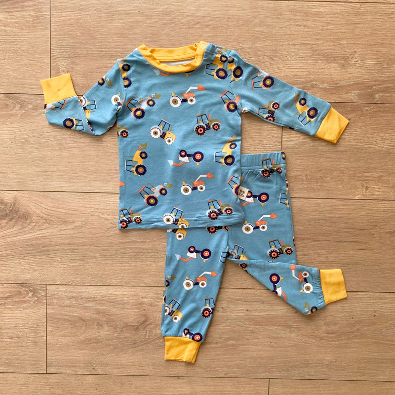 Kozi Kids Long Sleeve Set | Blue Tractors
