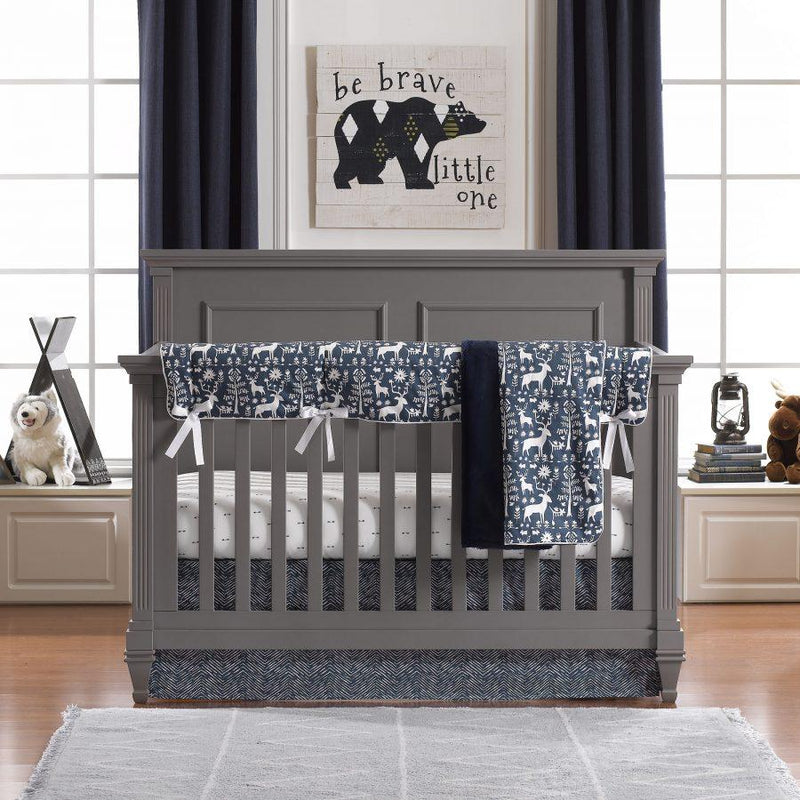Liz & Roo Woodland Forest (Navy) Bumperless Crib Bedding