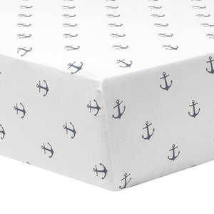 Liz & Roo Navy Mini Anchors Crib Sheet