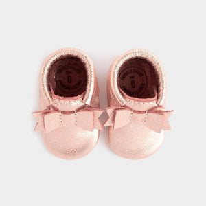 Freshly Picked Newborn Bow Moccasin - Rose Gold