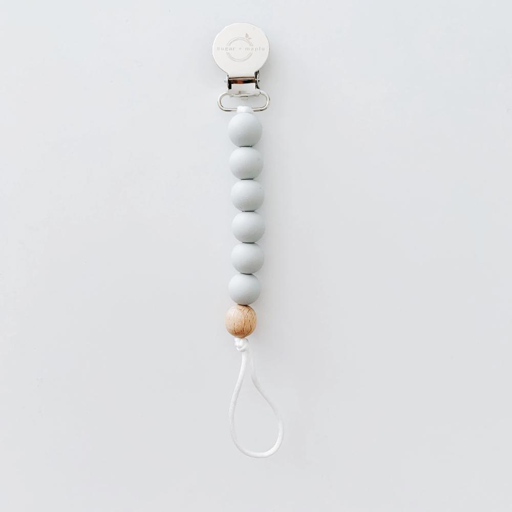 Pacifier + Teether Clip- Silicone with 1 Beechwood Bead - Grey