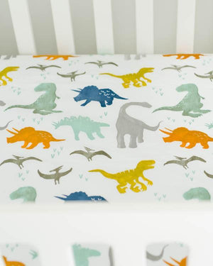 Little Unicorn Percale Crib Sheet - Dino Friends