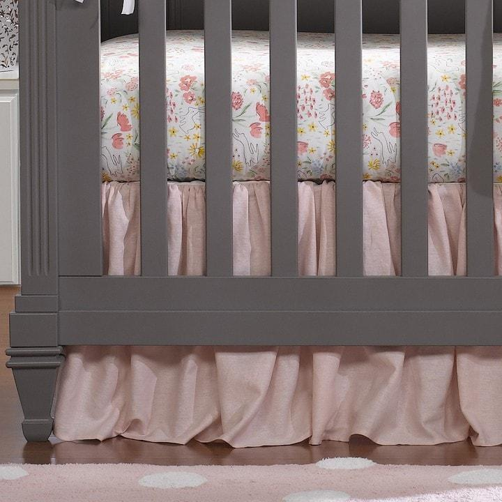 Liz & Roo Petal Pink Linen Blend Gathered Crib Skirt 16