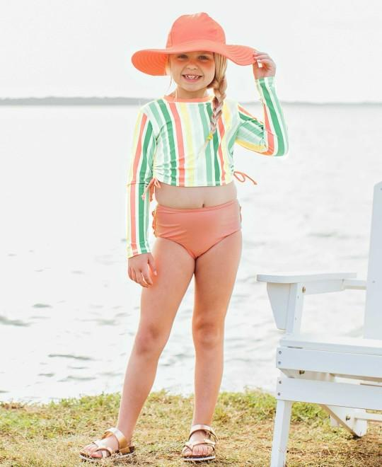 RuffleButts Saltwater Stripe Long Sleeve Cropped Rash Guard Bikini