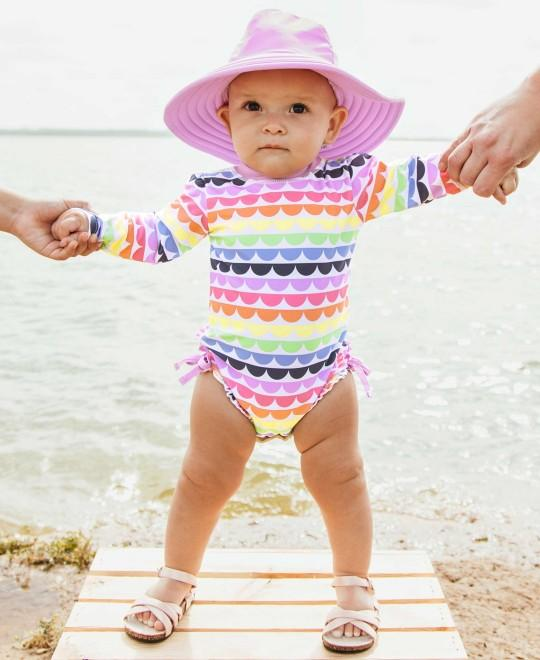 RuffleButts Rainbow Scallop One Piece Rash Guard
