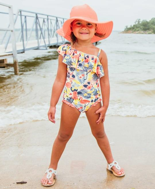 RuffleButts Tropical Flamingo One Shoulder Ruffle One Piece