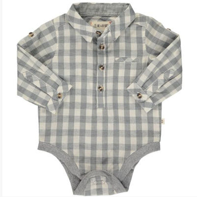 Me & Henry Grey/White Plaid Woven Onesie