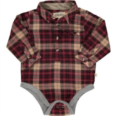 Me & Henry Wine/black Plaid Woven Onesie
