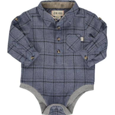 Me & Henry Blue/Black Plaid Woven Onesie