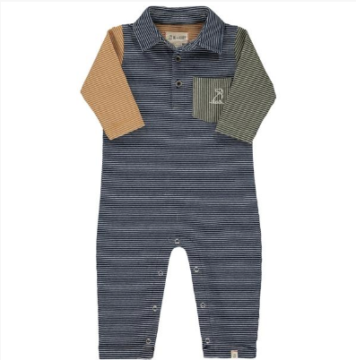Me & Henry Navy/Multi Stripe Polo Romper
