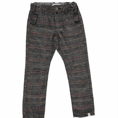 Me & Henry Grey Plaid Woven Pants with Suspenders