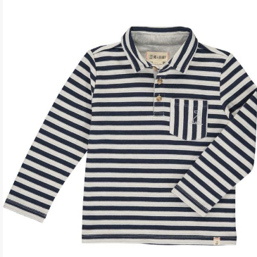 Me & Henry Navy/White Striped Polo