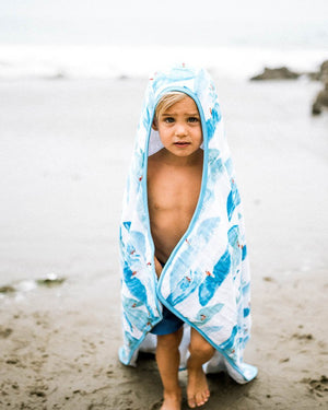 Little Unicorn Big Kid Hooded Towel - Surf
