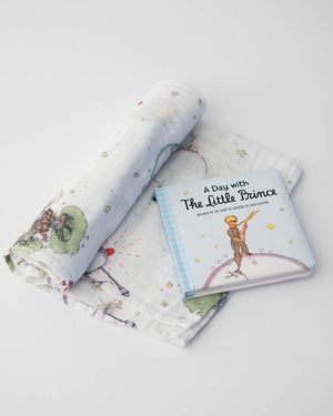 Little Unicorn Little Prince Swaddle Blanket + Book Gift Set