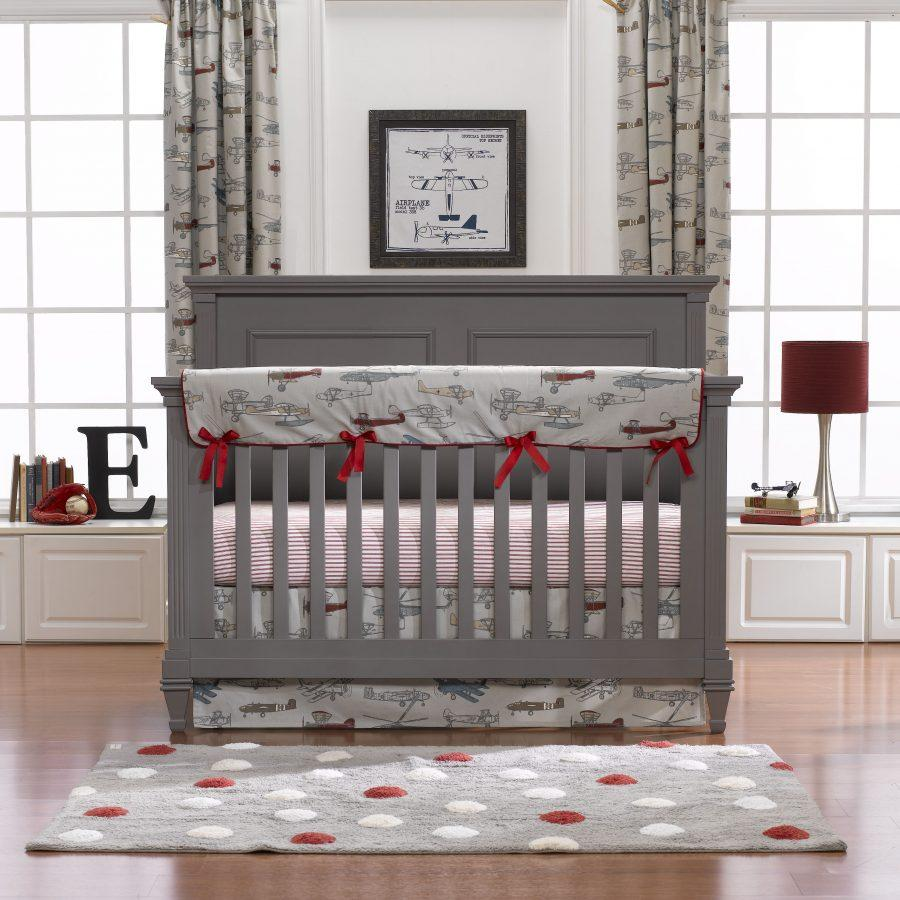 Liz & Roo Vintage Airplanes Bumperless Crib Bedding 4-pc. Set