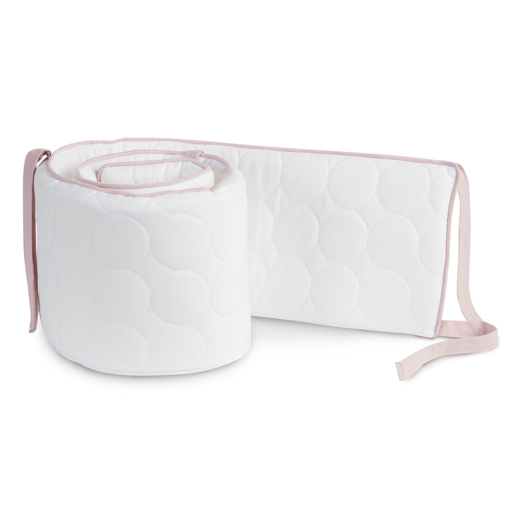 Oilo Quilted White Bumper - Blush Piping & Ties