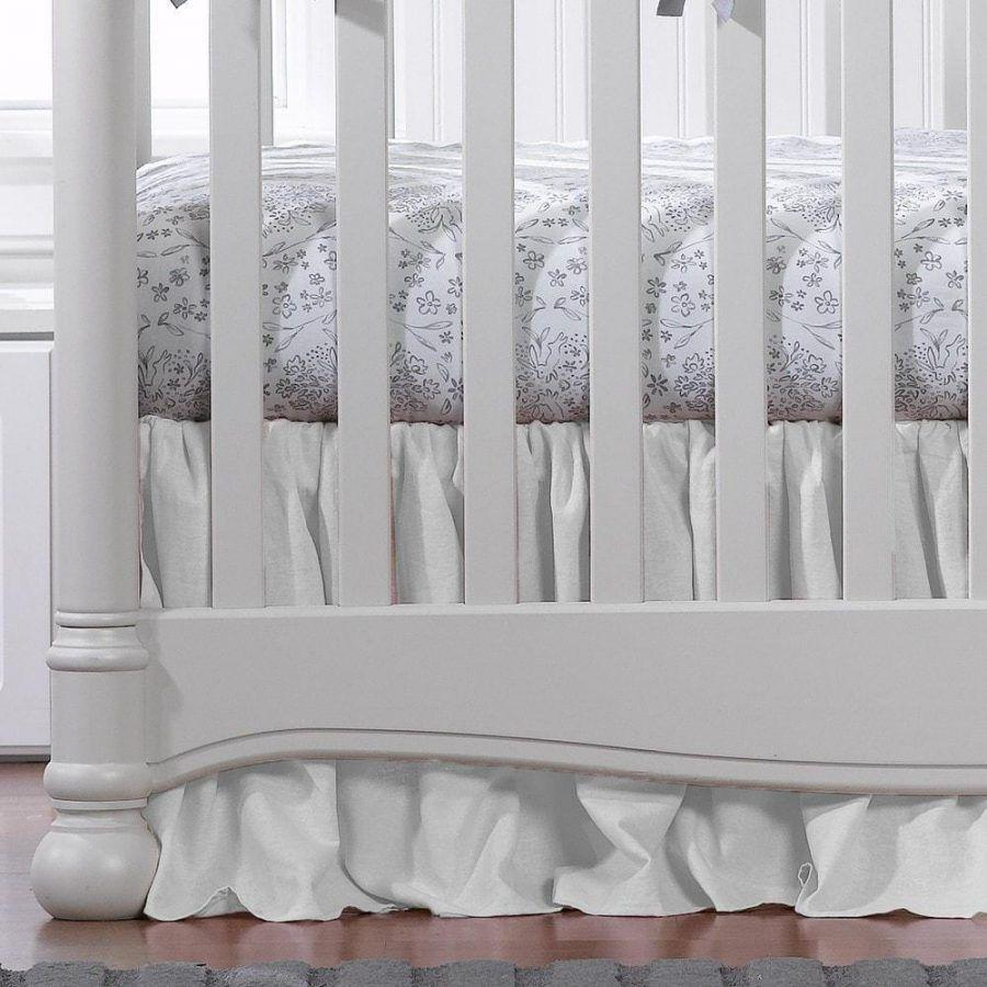 "Liz & Roo White Woven Gathered Crib Skirt 17"" Drop"