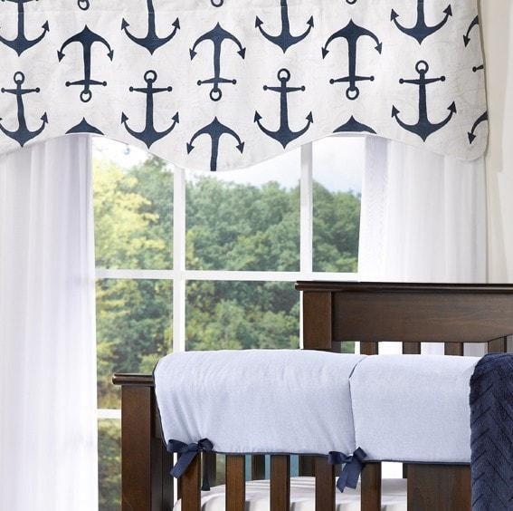 Liz & Roo Navy Anchors Window Valance