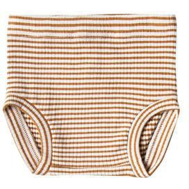 Quincy Mae Ribbed Bloomer | Walnut Stripe