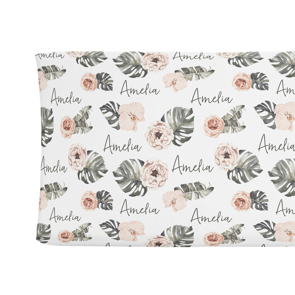 Sugar + Maple Changing Pad Cover - Tropical Boho Floral