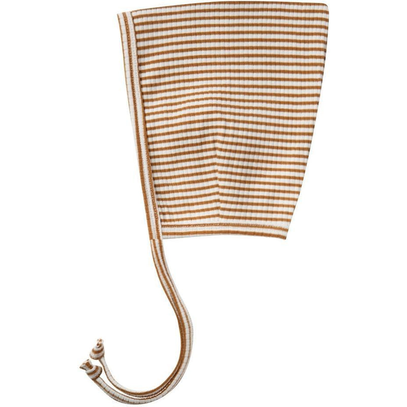 Quincy Mae Ribbed Pixie Bonnet | Walnut Stripe