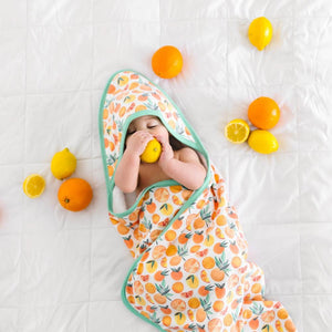 Copper Pearl Muslin Hooded Towel - Citrus