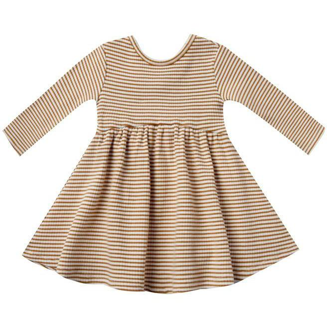 Quincy Mae Ribbed Longsleeve Dress | Walnut Stripe