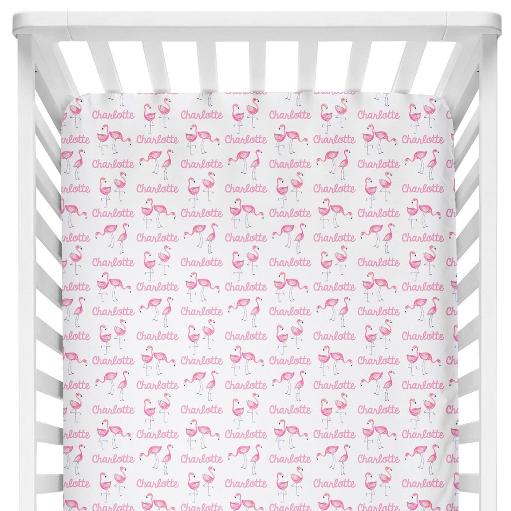 Sugar + Maple Crib Sheet - Flamingo