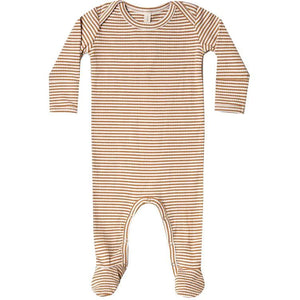 Quincy Mae Ribbed Footie | Walnut Stripe
