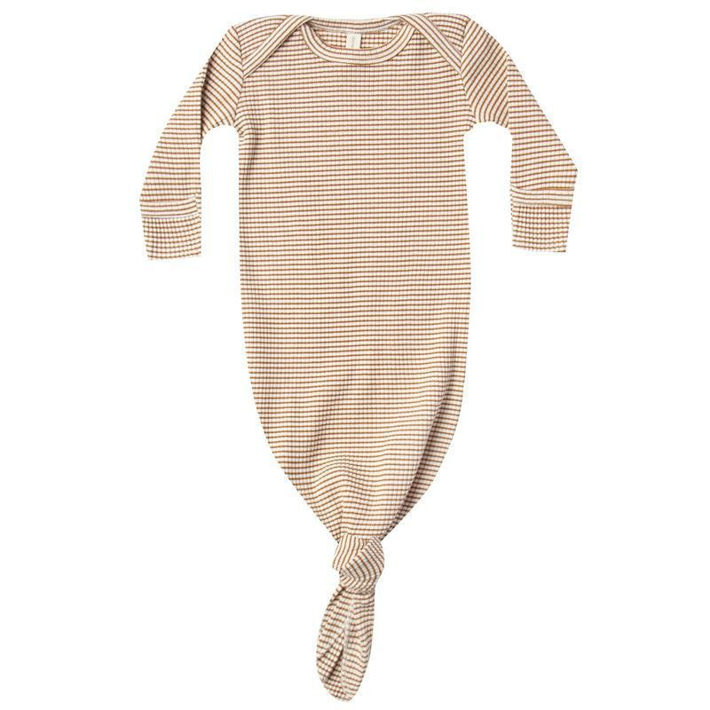 Quincy Mae Ribbed Knotted Baby Gown | Walnut Stripe