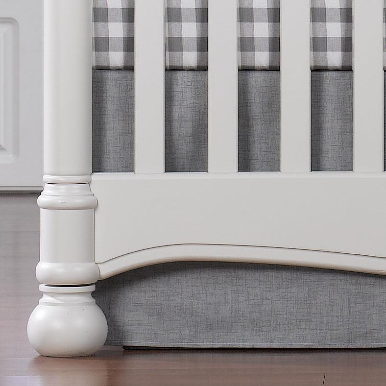 "Liz & Roo Gray Crosshatch Crib Skirt 17"" Drop"