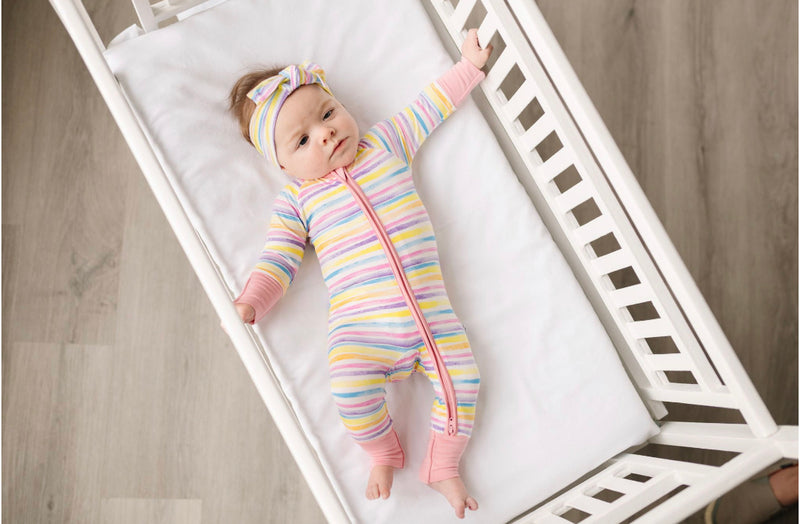 Little Sleepies Sunrise Stripe Bamboo Viscose Convertible Romper/Sleeper