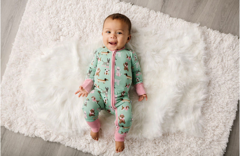Little Sleepies Puppy Love (Pink Trim) Convertible Romper/Sleeper