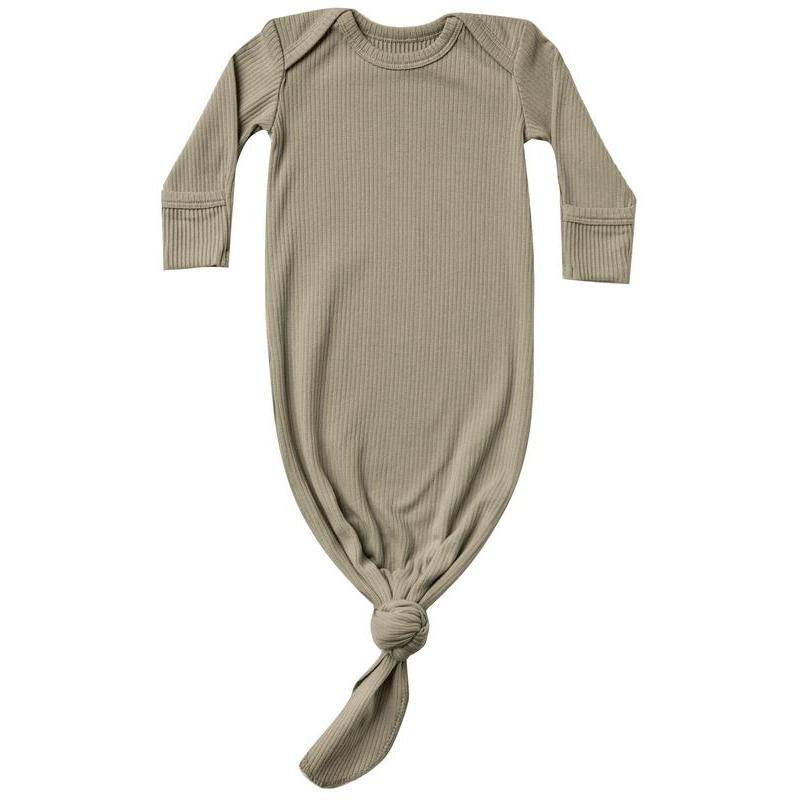Quincy Mae Ribbed Knotted Baby Gown | Olive