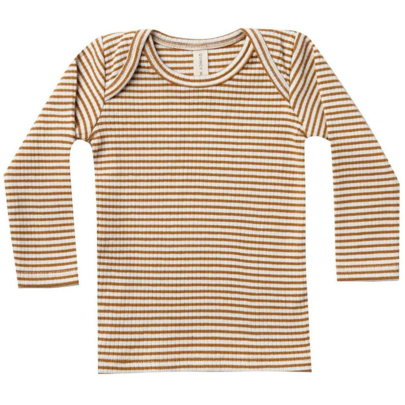 Quincy Mae Ribbed Longsleeve Lap Tee | Walnut Stripe