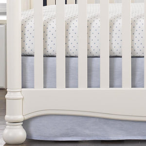 "Liz & Roo Light Blue Linen Crib Skirt 16"" Drop"